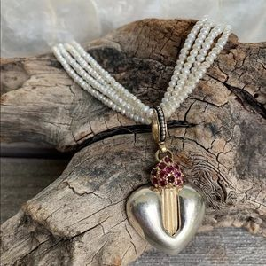 Ron Rizzo 14K Sterling Silver Ruby Heart Pearls